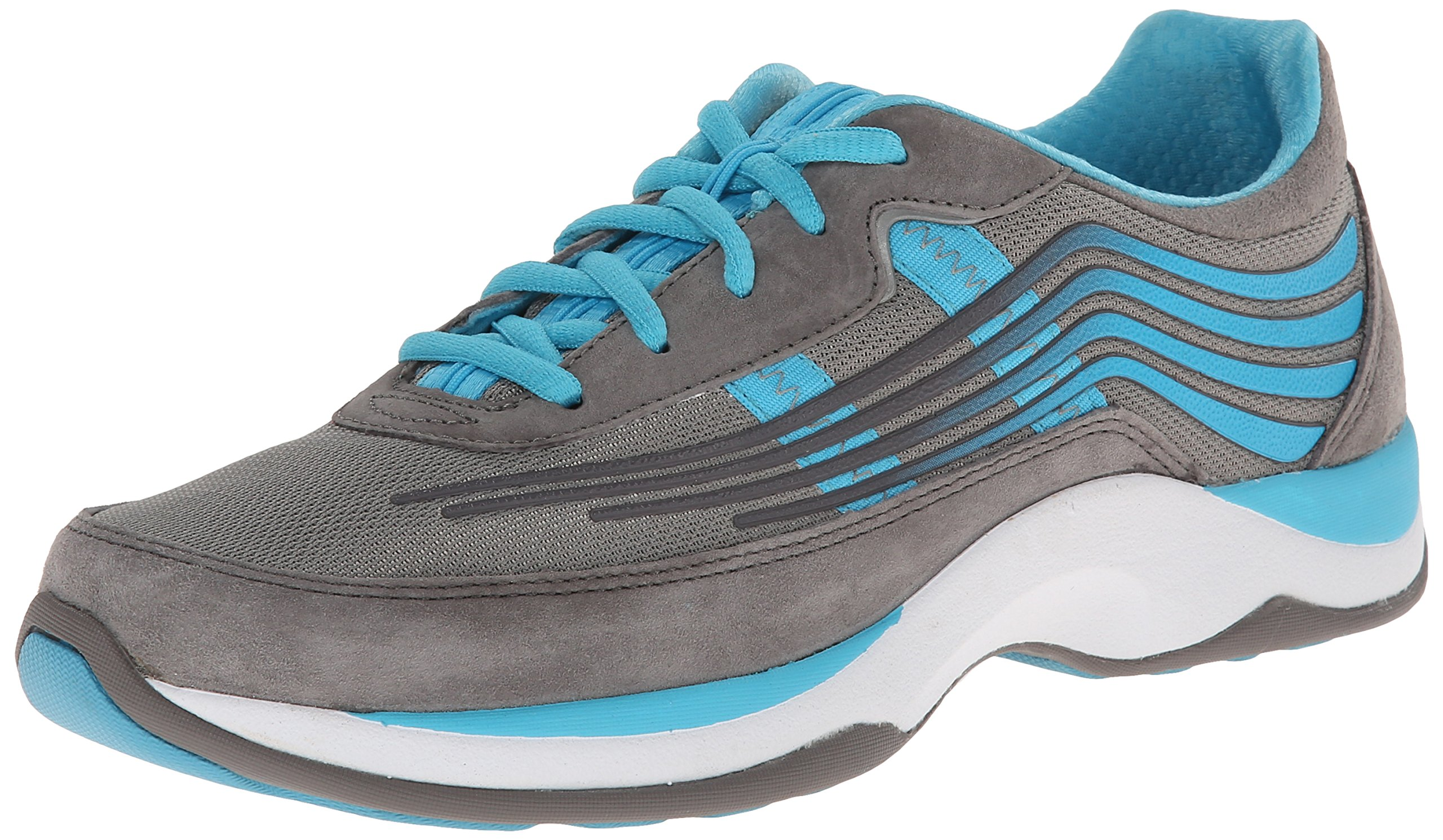 Dansko Women's Shayla Fashion Sneaker, Grey/Aqua Suede, 36 EU/5.5-6 M US
