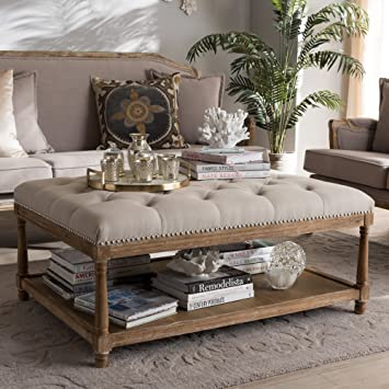 Amazon Com Baxton Studio Carlotta French Country Weathered Oak Beige Linen Rectangular Coffee Table Ottoman French Country Beige Weathered Oak Fabric Cotton 50 Furniture Decor
