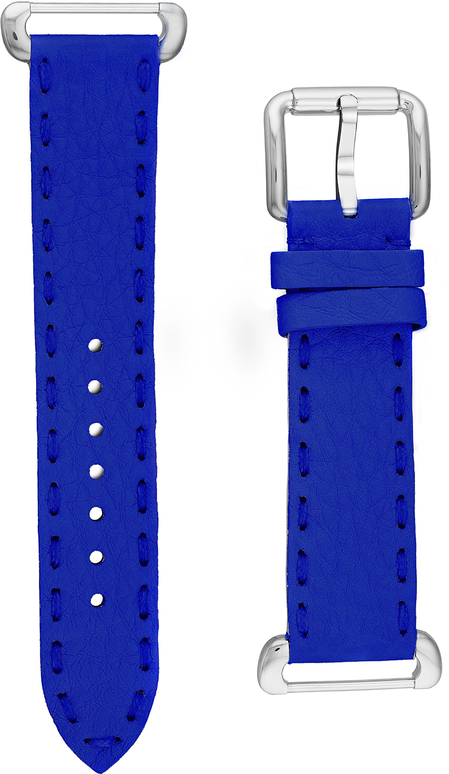 Fendi Selleria Interchangeable Replacement Watch Band - 18mm Neon Blue Calfskin Leather Strap with Pin Buckle SSN18RC3S