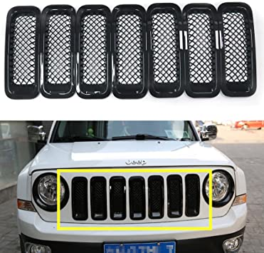 X AUTOHAUX 7Pcs Silver Tone Front Grille Inserts Sticky Cover Trim Kit for 2011-2016 Jeep Patriot