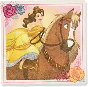 Amscan 501698 Beverage Napkins| Disney Beauty And The Beast Collection | Party Accessory | 16 pcs