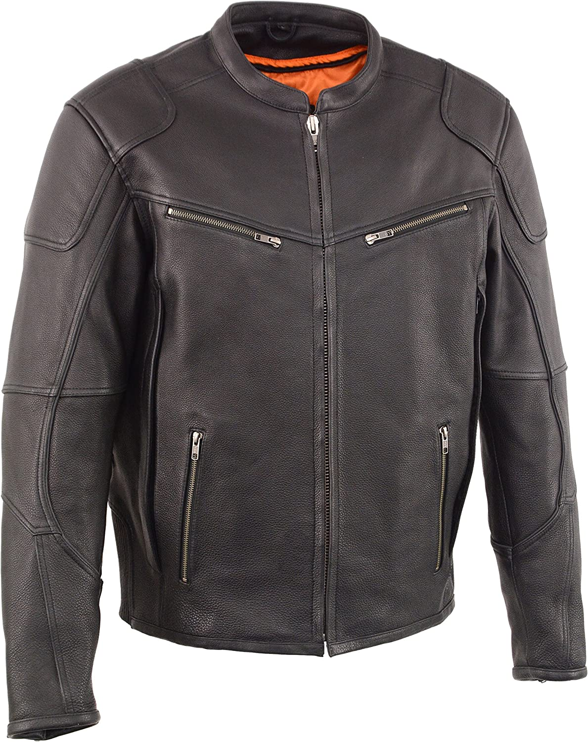 Milwaukee Leather MLM1502 Men's 'Cool-Tec' Black Vented Leather Scooter Jacket with Gun Pockets - Medium