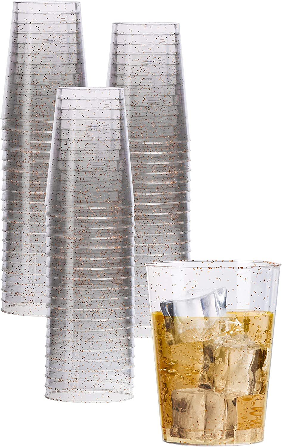 Exquisite 120 Count 10 oz Rose Gold Glitter Clear Plastic Cups Tumblers - Hard Plastic Disposable Cups For Wedding Glasses - Plastic Party Cups For Cocktail Wine and More.