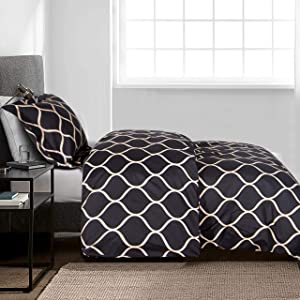 NTBAY Microfiber Twin Duvet Cover Set, 2 Pieces Ultra Soft Curve Printed Comforter Cover Set with Zipper Closure and Corner Ties for Kids, Black and Beige