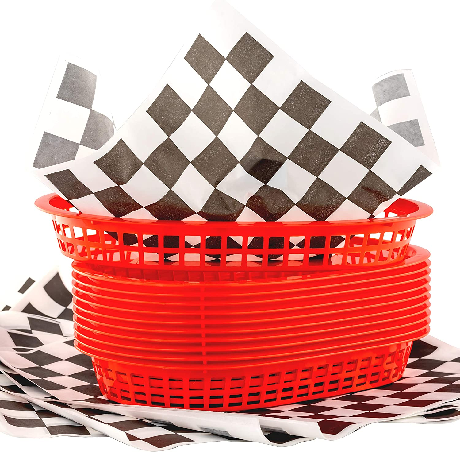 Retro Style Red Fast Food Basket (12Pk) and Black Checkered Deli Liner (120Pk). Classic 11 in Deli Baskets are Microwavable and Dishwasher Safe. Disposable Deli Paper Squares for Easy Cleanup