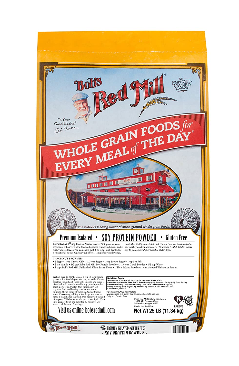 Bob s Red Mill Gluten Free Soy Protein Powder, 25 Pound