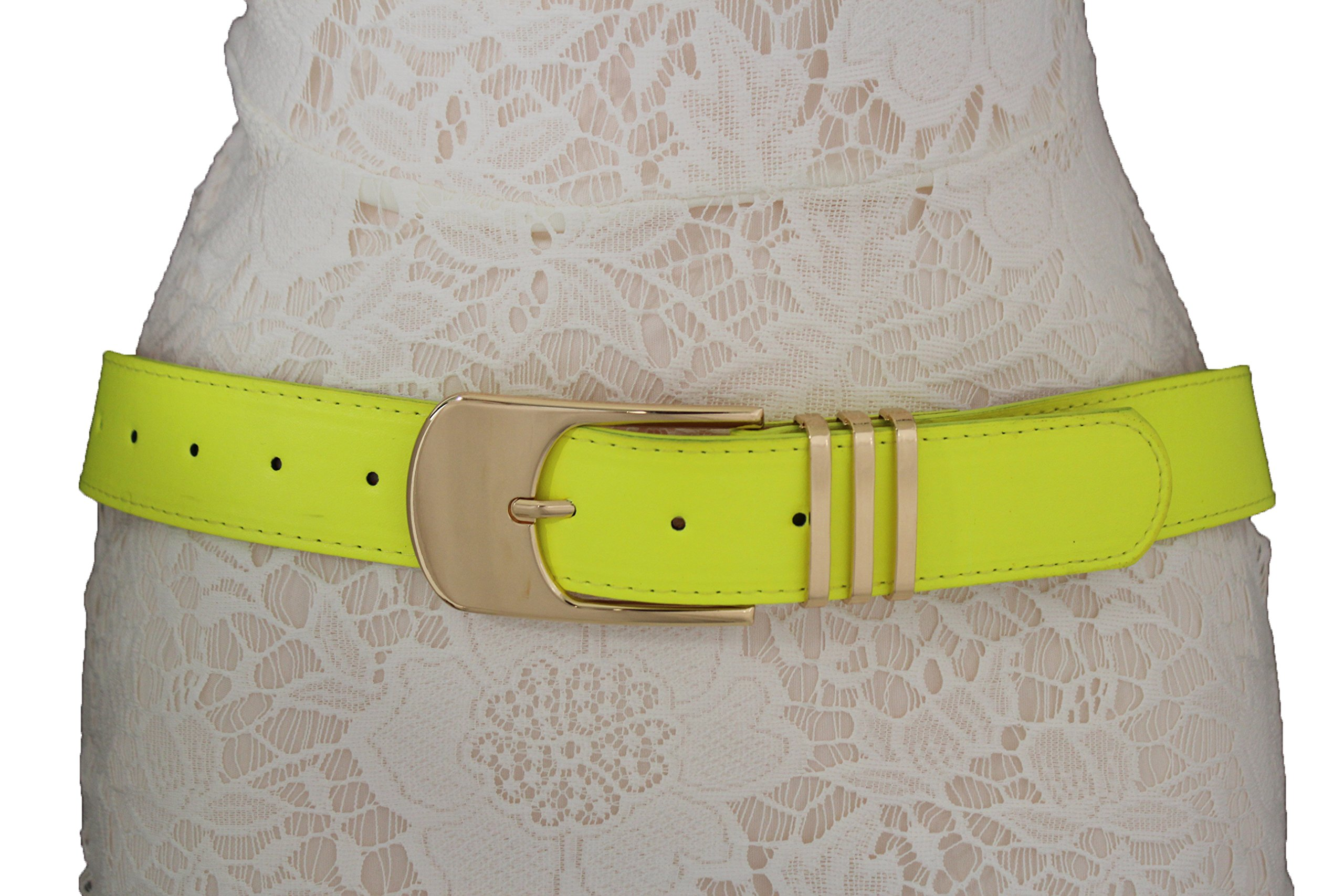 TFJ Women Classic Fashion Belt Faux Leather Big Gold Metal Buckle Plus Size M L Xl (Bright yellow)