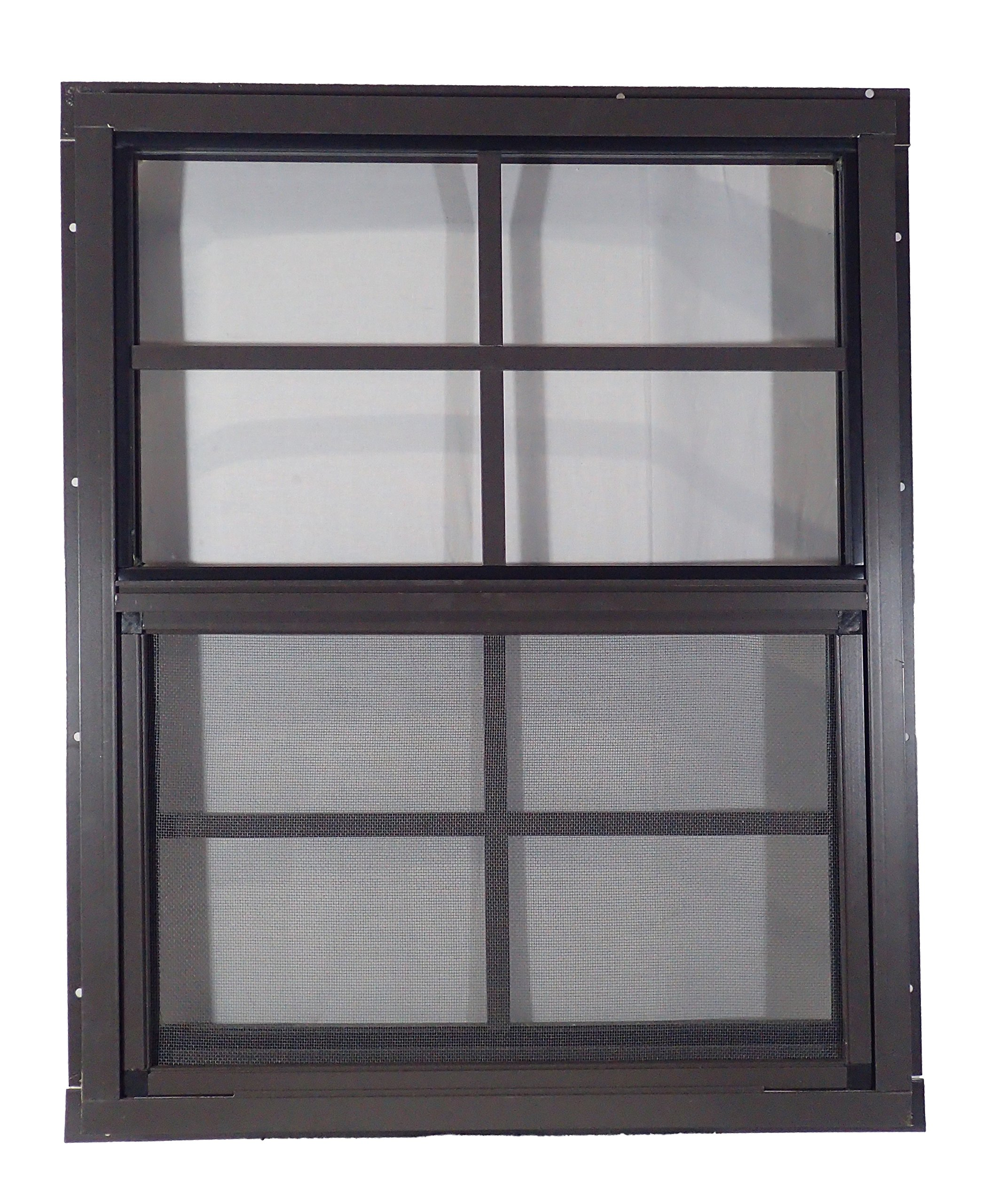 Shed Windows 18'' W x 23'' H - J-Lap - Playhouse Windows (Brown)