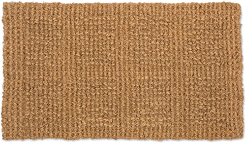 J M Home Fashions Natural Coir Coco Fiber Indoor Outdoor Plain Woven Doormat, 14×24, Heavy Duty Entry Way Shoes Scraper Patio Rug Dirt Debris Mud Trapper Waterproof