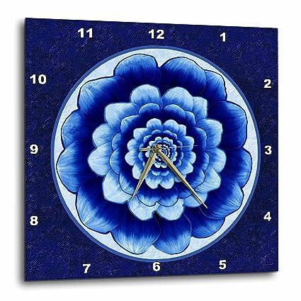 3dRose Dpp 31753 2 Pastel Blue And Cobalt Fantasy Mandala Flower On Royal Background Wall Clock