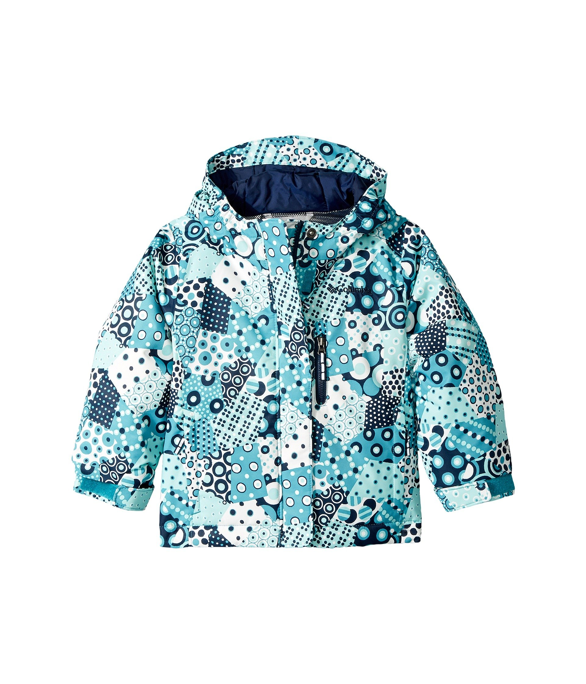 Columbia Kids Baby Girl's Magic Mile Jacket (Toddler) Pacific Rim Patchwork Print/Collegiate Navy 2T Toddler