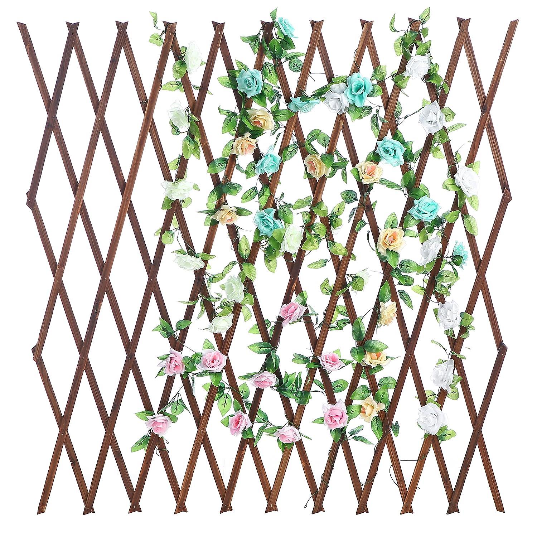 MyGift Wood Lattice Garden Trellis, Plant Display Screen w Adjustable Width, Dark Brown