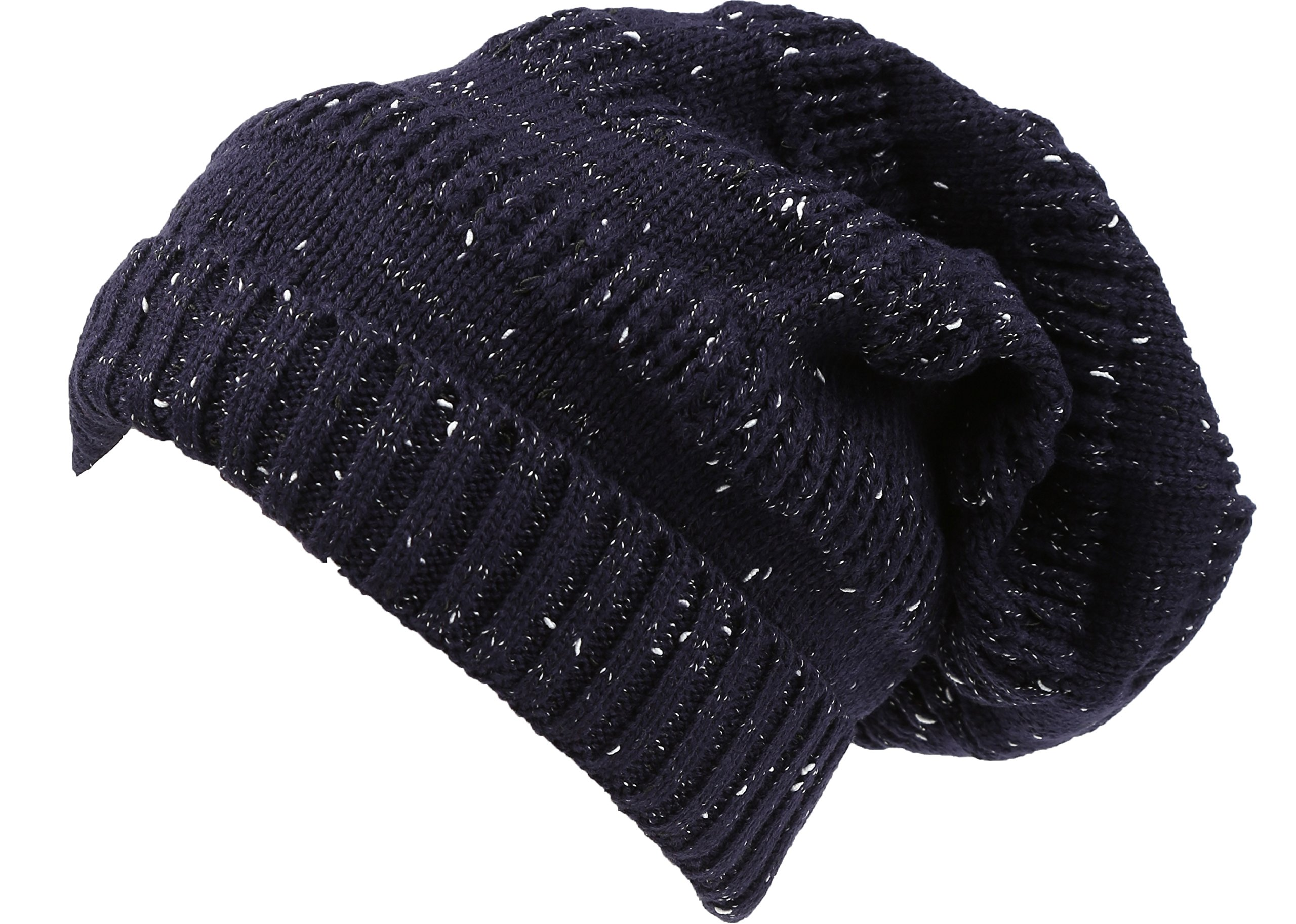 Sakkas 16148 - Kase Long Tall Slouchy Striped Knit Fishermans Unisex Solid Beanie Hat - Navy - OS