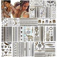 URAQT metallic tatoeages, 20 vellen tijdelijk tattoo-papier met 200 ontwerpen, waterdicht verwijderbaar goud zilver nep…