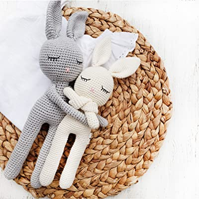 "Natural Crochet Bunny""Sleepy Head Bunny"" Toy Doll for Baby First Stuffed Animal Friend Amigurumi Crochet Sleeping Buddy Security Blanket Newborn Photo Propgray (Sleepy Bunny) : Baby"