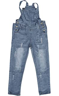fb4afeb8f6 Abalacoco Girls Kids Jeans Adjustable Strap Ripped Holes Denim Overalls  Jumpsuits Pants