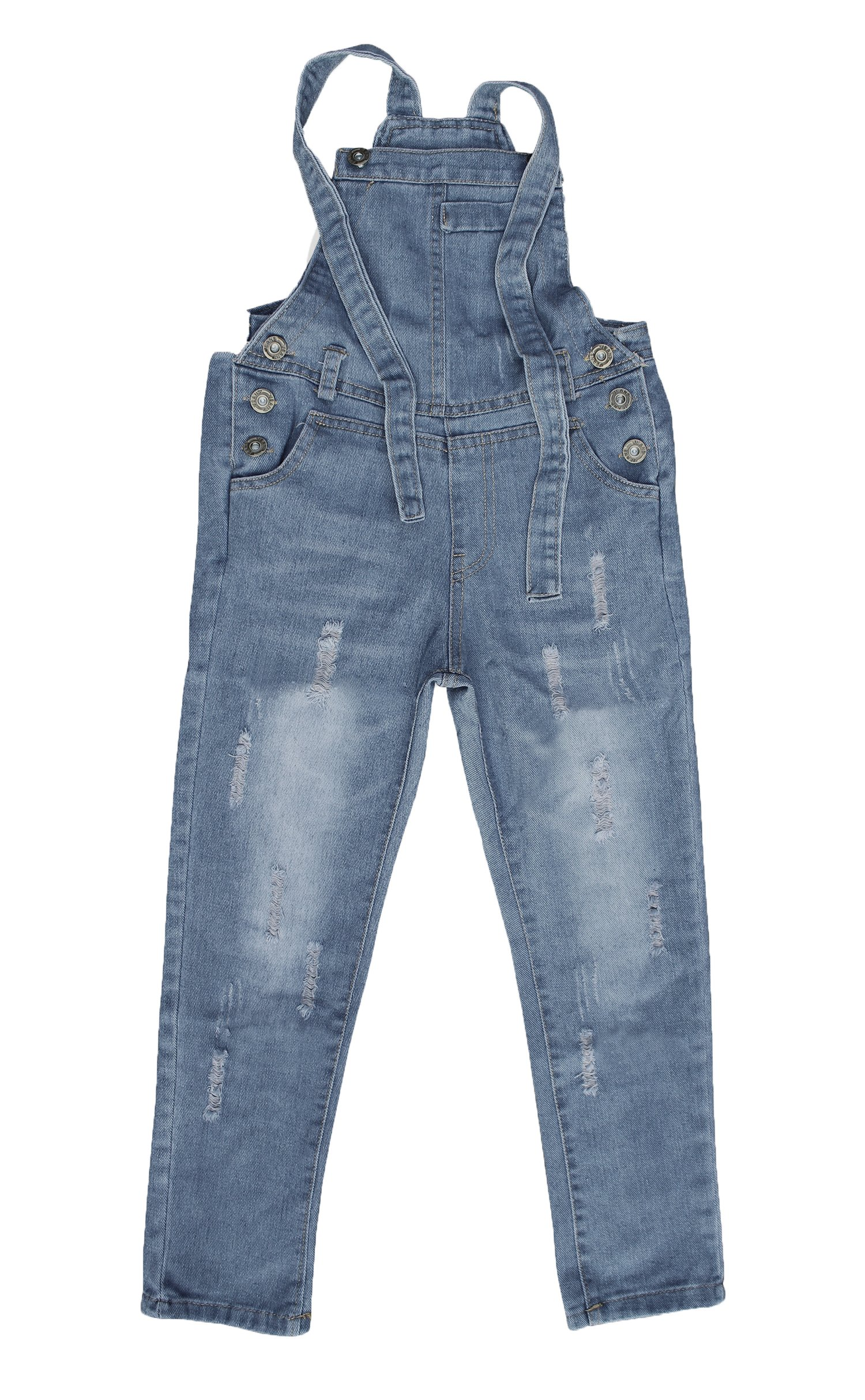 Abalacoco Girls Kids Jeans Adjustable Strap Ripped Holes Denim Overalls Jumpsuits Pants (10-11 Years)