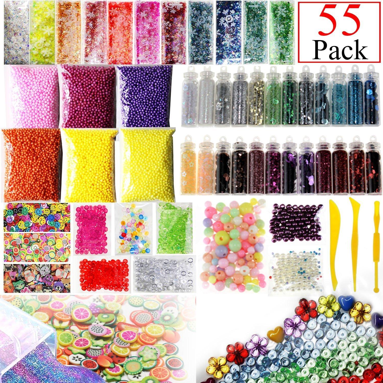 NYKKOLA Lot de 55fournitures de slime avec perles, billes en mousse, bocaux à paillettes, rondelles de fruits, fleurs et animaux, outils de création pour slime, pour loisirs créatifs et décoration d'intérieur à base de slime XGFOAM-55pcs