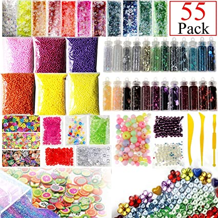 55 Pack Slime Supplies Kit Include Fishbowl beads, Foam Balls, Glitter Jars, Fruit