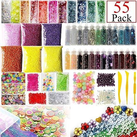 NYKKOLA Paquete de 55 unidades de accesorios para slime, incluye cuentas de pecera, bolas de espuma, ...