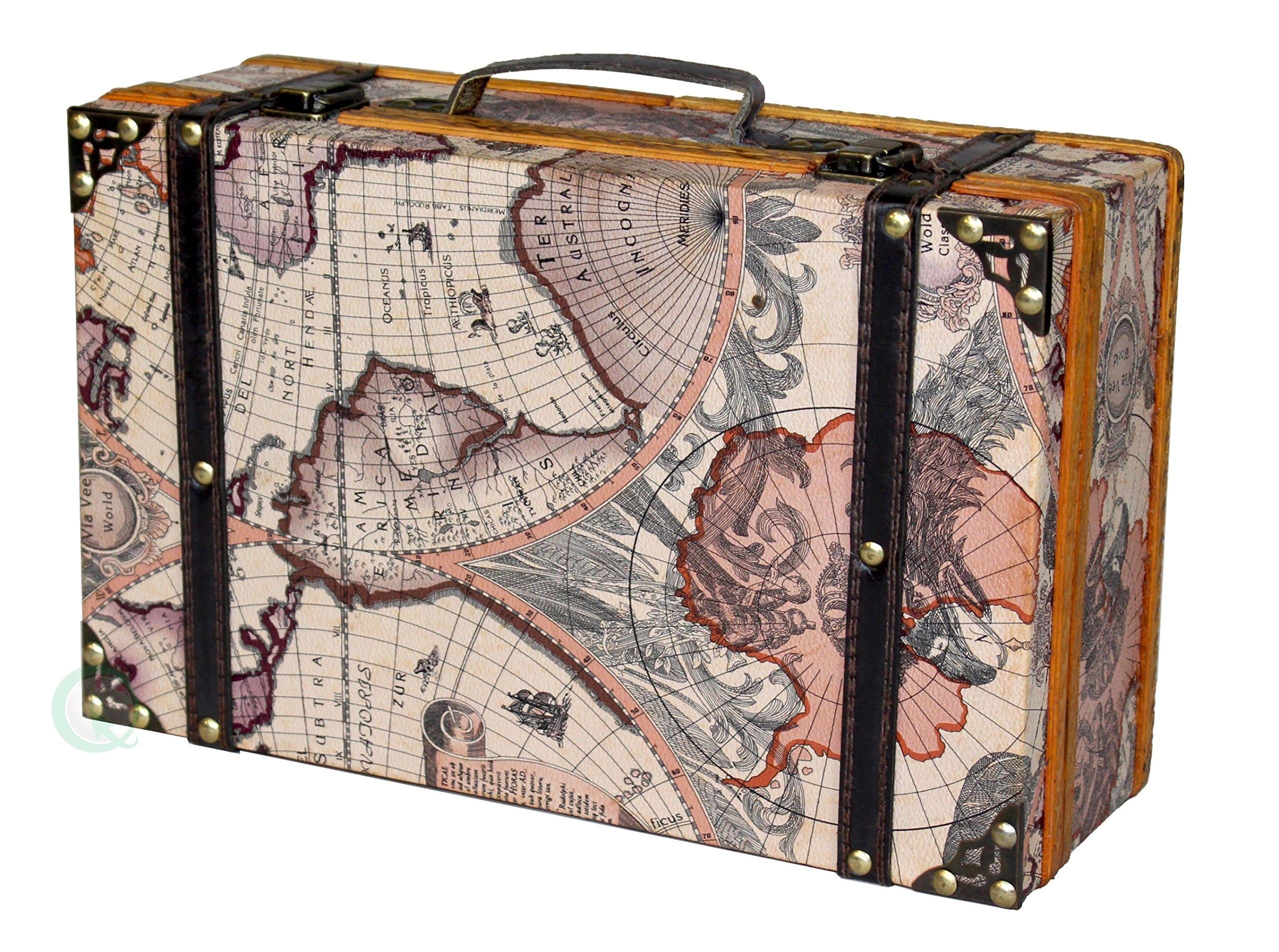 Vintiquewise(TM Old World Map Suitcase/Decorative Box