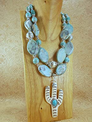 Western Cowgirl Necklace Set - Chunky Turquoise Agate and Howlite - Saguaro Cactus