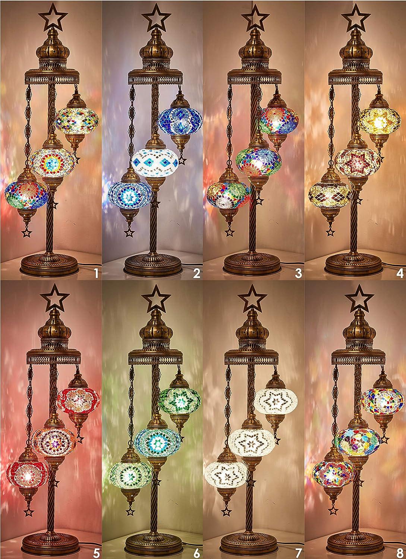 Turkish Moroccan Mosaic Glass Handmade Tiffany Floor Lamp Light, 29.5 Multicolor