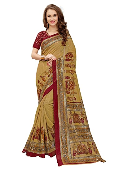 6e2ff3a0c1ac88 Glory Sarees Women's Cotton Silk Saree With Blouse Piece (Gsfoil2_Red):  Amazon.in: Clothing & Accessories