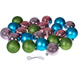 Christmas Ornaments Variety Set | Blue, Pink, Green Christmas Decor Theme | 24 Pack | Glitter, Gloss, & Mirror Ball Textures Shatter Resistant Plastic | 60mm Round Ornaments