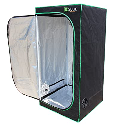 """US Solid Grow Tent- 32""""x32""""x64"""" Hydroponic Grow Room Tent with High  Strength Mylar Lined Fabric and a Strong Zipper, Keeps Odors from Getting  Out and"""