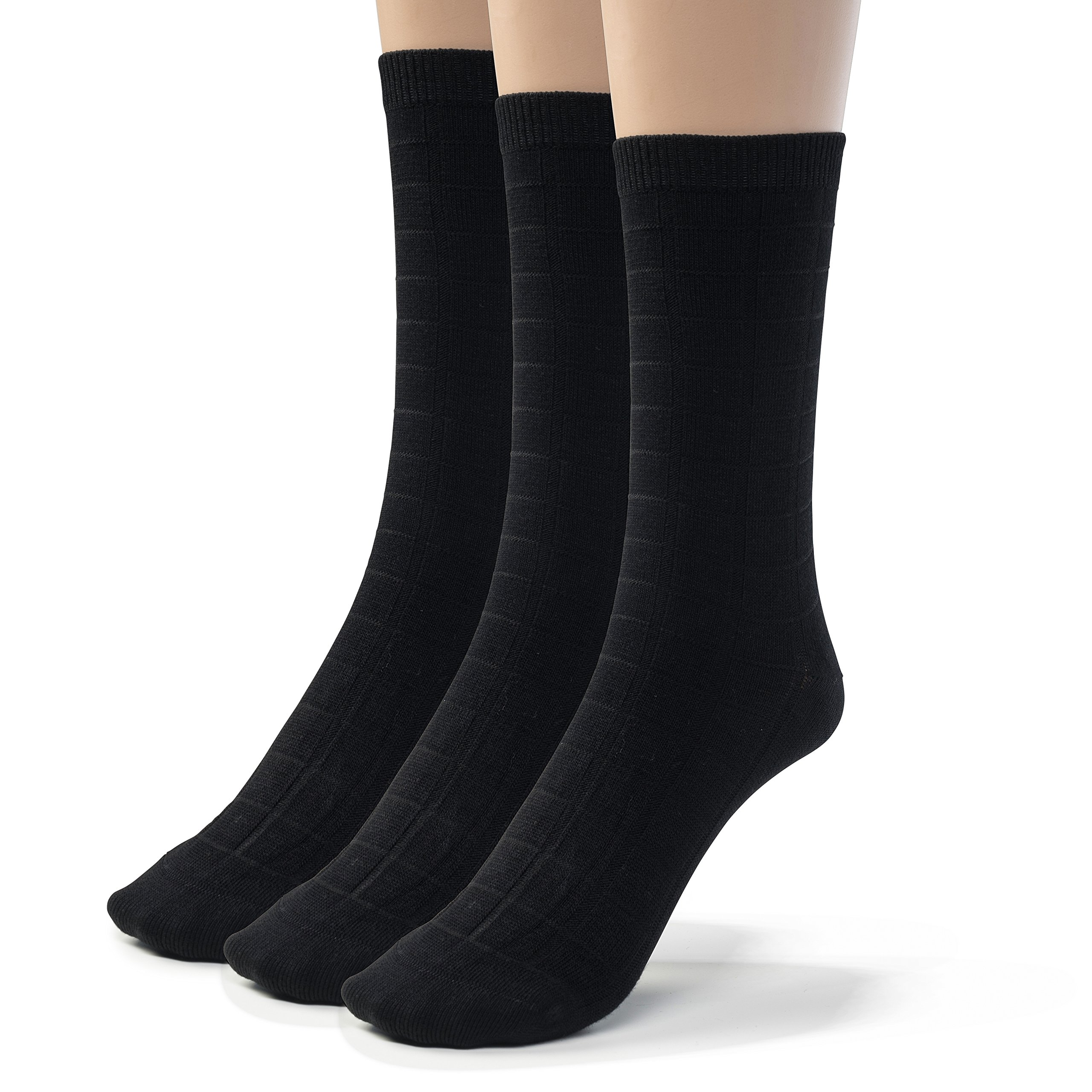 Silky Toes 3 Pk Boy's Textured Designed Cotton Dress Crew Casual Socks (Small (7-8), Black)