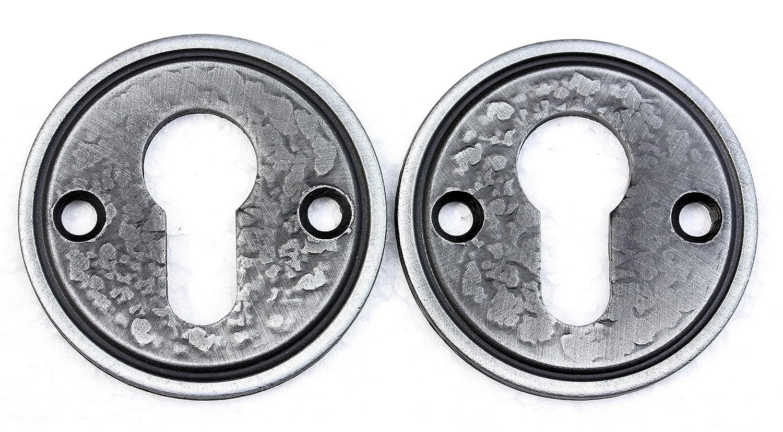 UHRIG 1 Paar/2 Stü ck Rosette Rund fü r PZ Profilzylinder geschmiedet aus Stahl #917 eisen-kunst