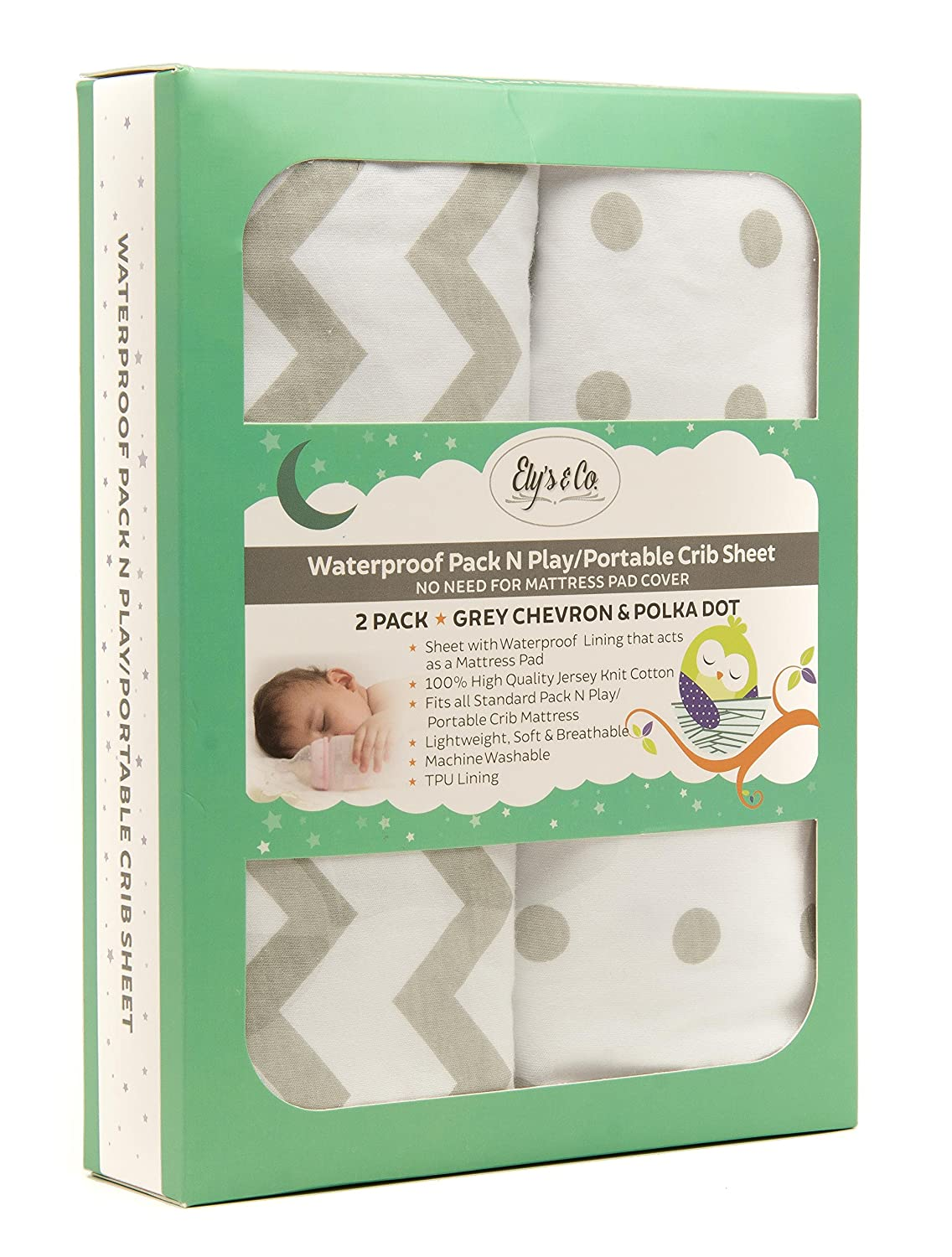 Kid's Waterproof Pack n Play Portable Mini Crib Sheet with Mattress Pad  Cover Protection, White and Grey Chevron and Polka Dots (2 Pack) : Baby