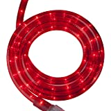 Incandescent Red Rope Light Kit – Light Rope Outdoor, Christmas Light Rope Light Color – Non LED Rope Light, Includes Rope Light Clips and Power Cord, 120V, ½ Inch, 2-Wire (12', Red)