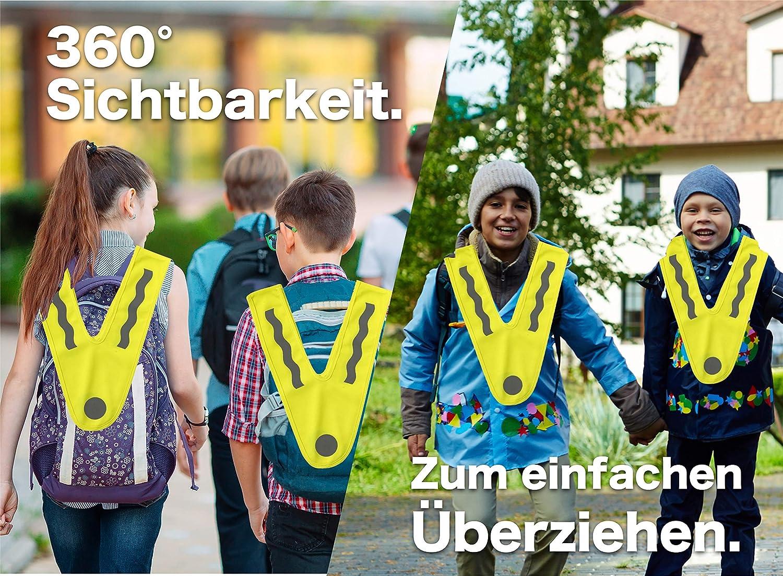 TK Gruppe Timo Klingler Gelbe Warnweste f/ür Kinder Gepr/üfte Neongelbe V Sicherheitsweste ultrahell /& starkreflektierend Leuchtweste ab 3 Jahren