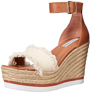 Steve Steve Steve Madden Damens's Valley Wedge Sandale, Beige Fabric, 9.5 M US e85cb4