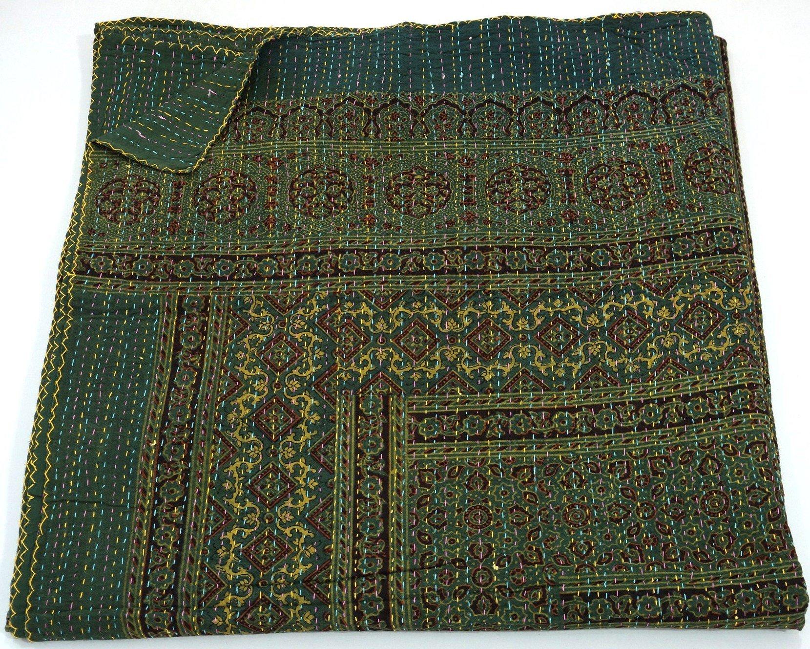 Indian King Size Traditional Home Deco Kantha Ajrakh Quilt, Handmade Kantha Print Ajrakh Throw Blanket