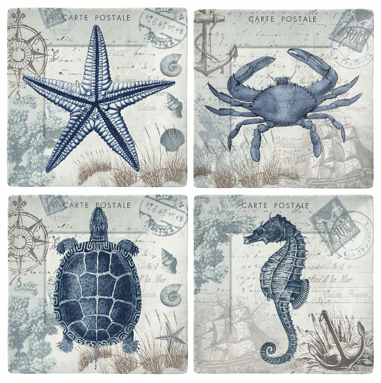 Merritt International Seaside Postcard 8in square plate all 4 animals