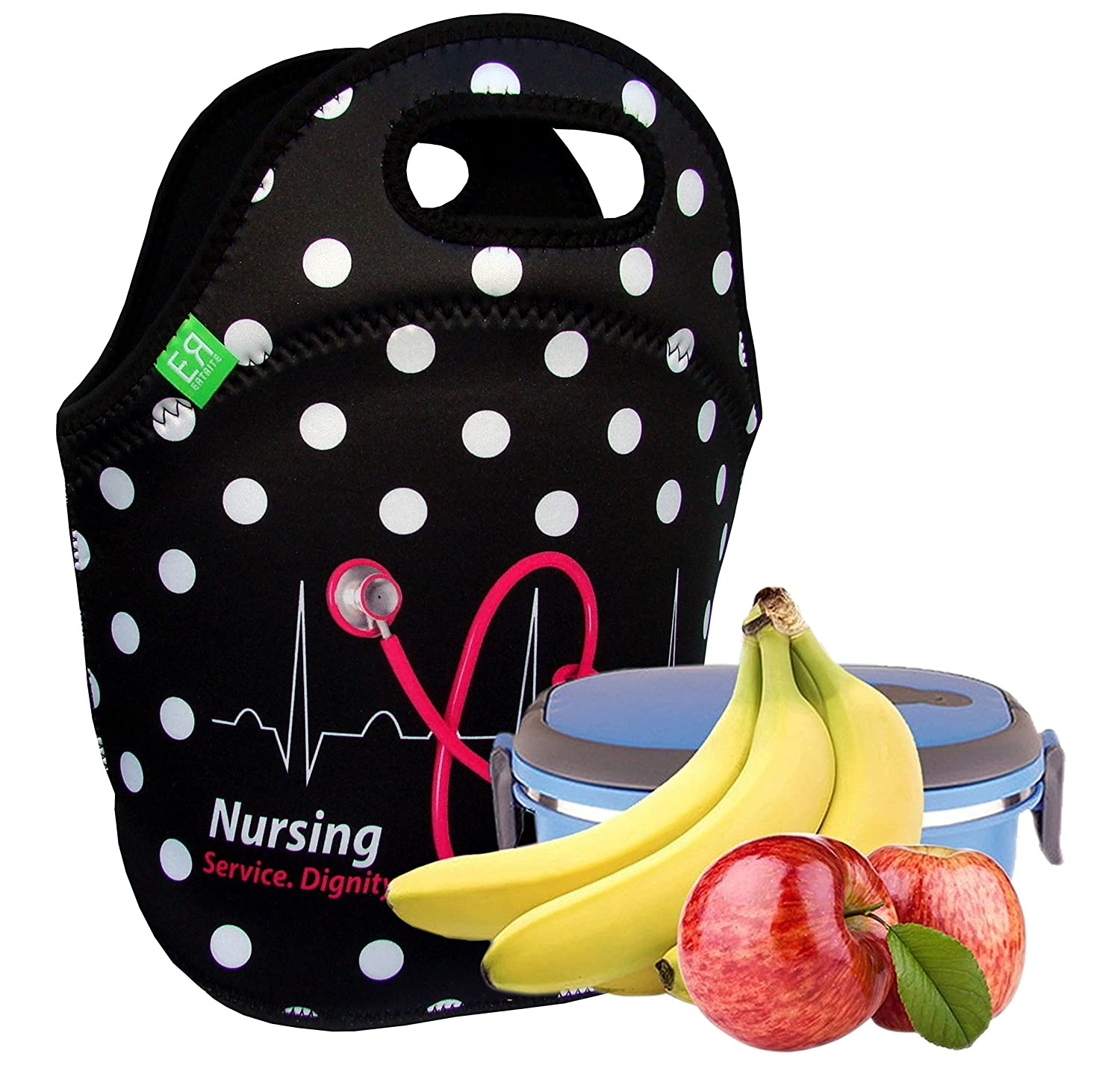 Nurses Insulated Lunch Tote Bag X-large, X-Thicker Insulation Stylish Luxury Nurse Gift Idea by EatRite (Black) ER-100A