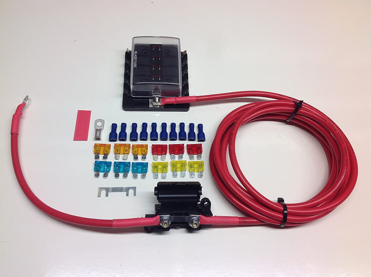 FB080//5 Fuse box distribution kit with ready made leads with 10-way fuse box 5mtr Kit