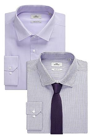 next Hombre Pack De Dos Camisas Corte Regular Y Corbata Morado ...