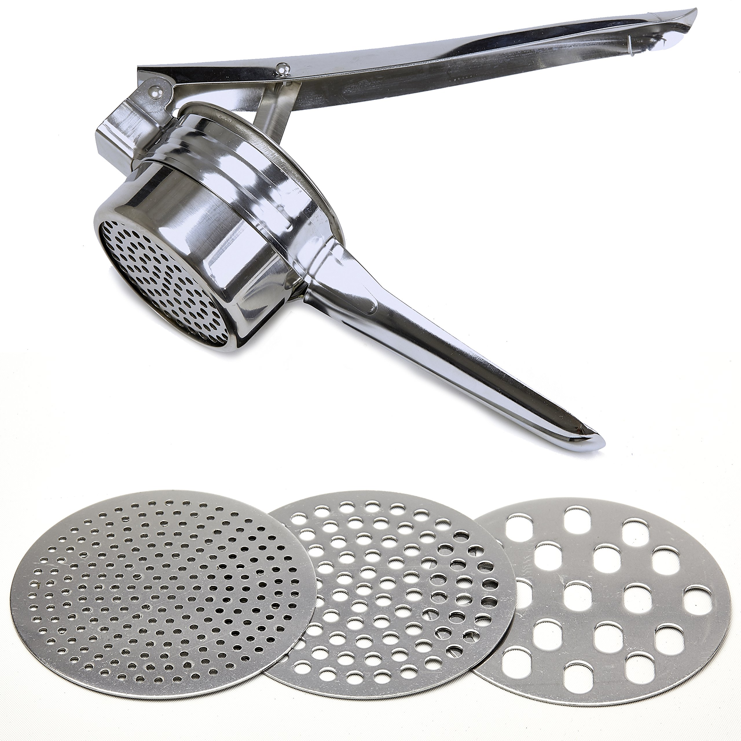 Stainless Steel Potato Ricer - Manual Masher for Potatoes, Fruits, Vegetables, Yams, Squash, Baby Food and More - 3 Interchangeable Discs for Fine, Medium, and Coarse, Easy To Use - by Tundras by Tundras