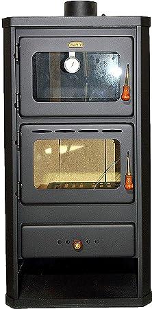 Estufa de leña con horno fabricada en acero y con una