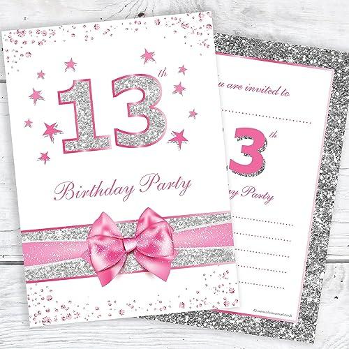13th birthday invitations amazon olivia samuel 13th birthday party invitations teenager thirteenth pink sparkly invites photo effect silver filmwisefo