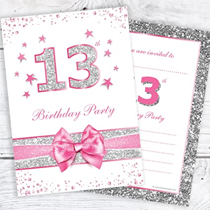 LADIES 21ST BLACK /& SILVER BIRTHDAY PARTY INVITES INVITATIONS X 10 PACK /& ENVELOPES