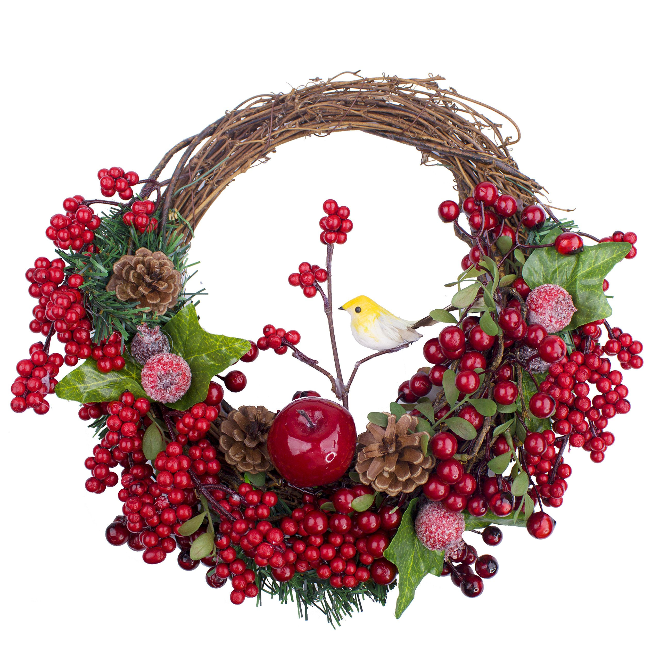 LTWHOME CWB Artificial 12.5'' x 11.5'' Christmas Wreath with Berries,Cones and Bird for Front Door,Wall, Mantelpiece,Window Decor
