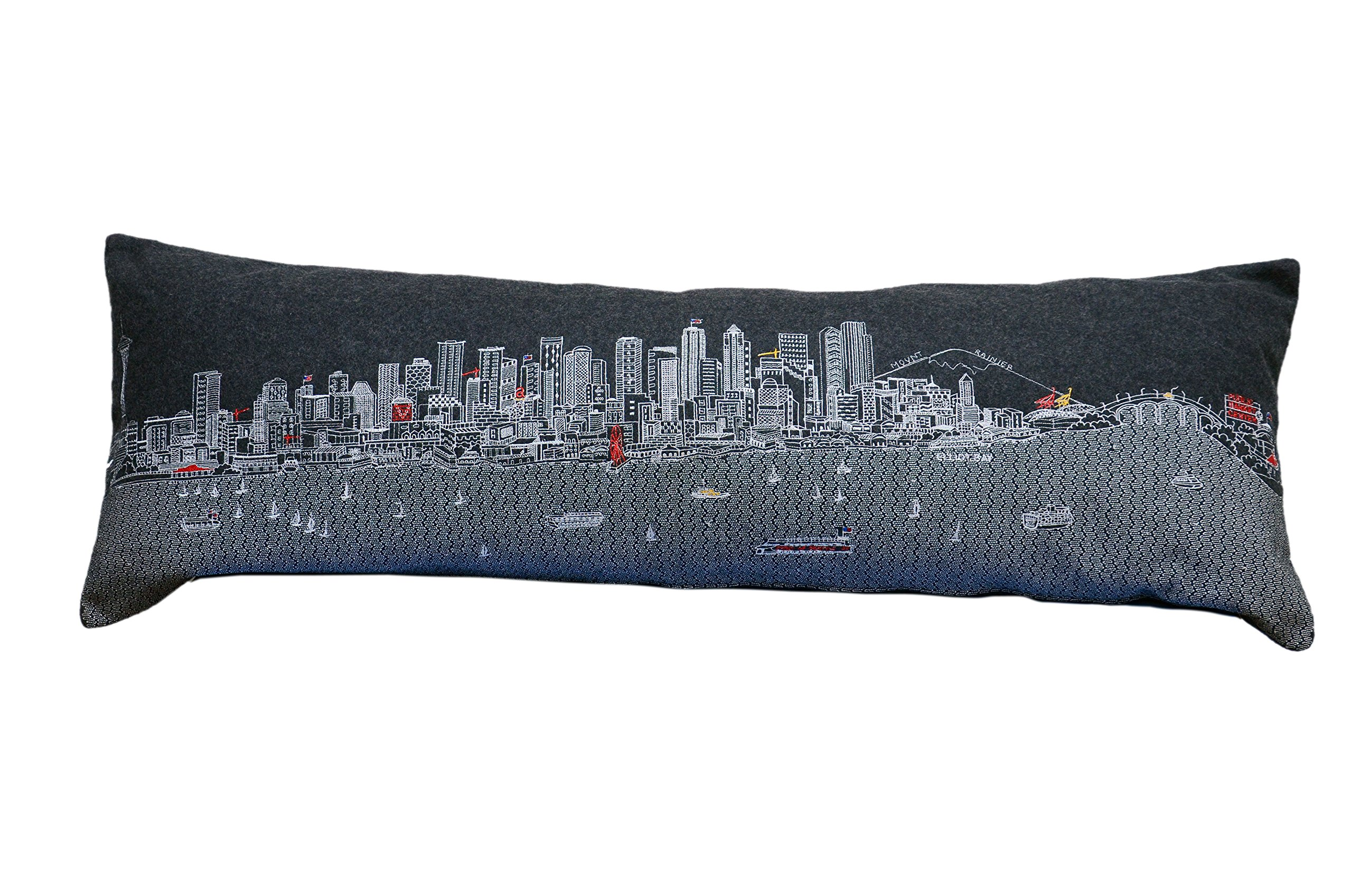 Beyond Cushions Polyester Throw Pillows Beyond Cushions Seattle Night Skyline King Size Embroidered Accent Pillow 46 X 14 X 5 Inches Black Model # SEA-NGT-KNG