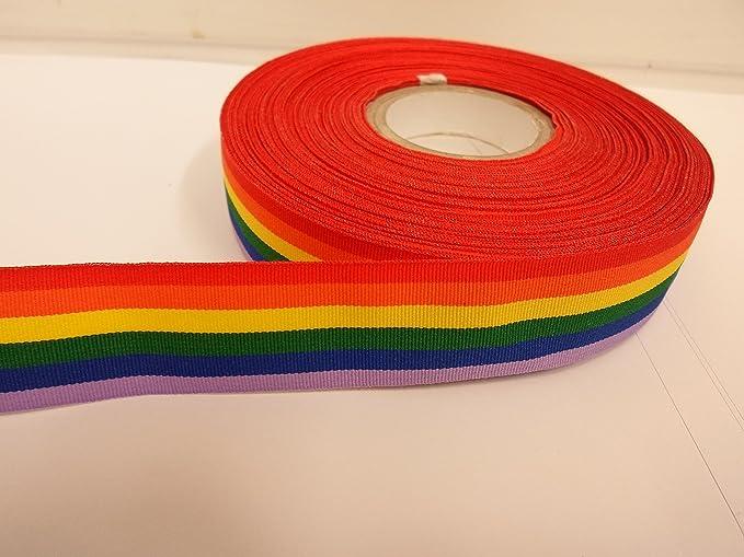 2 Metros x 25mm Cinta de Arco Iris Multi Color Rayas de Color Orgullo Gay LGBT de Doble Cara 25 mm: Amazon.es: Hogar
