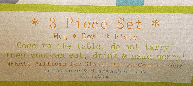 Amazoncom 3 Piece Ceramic Plate Set With Artwork By Kate Williams