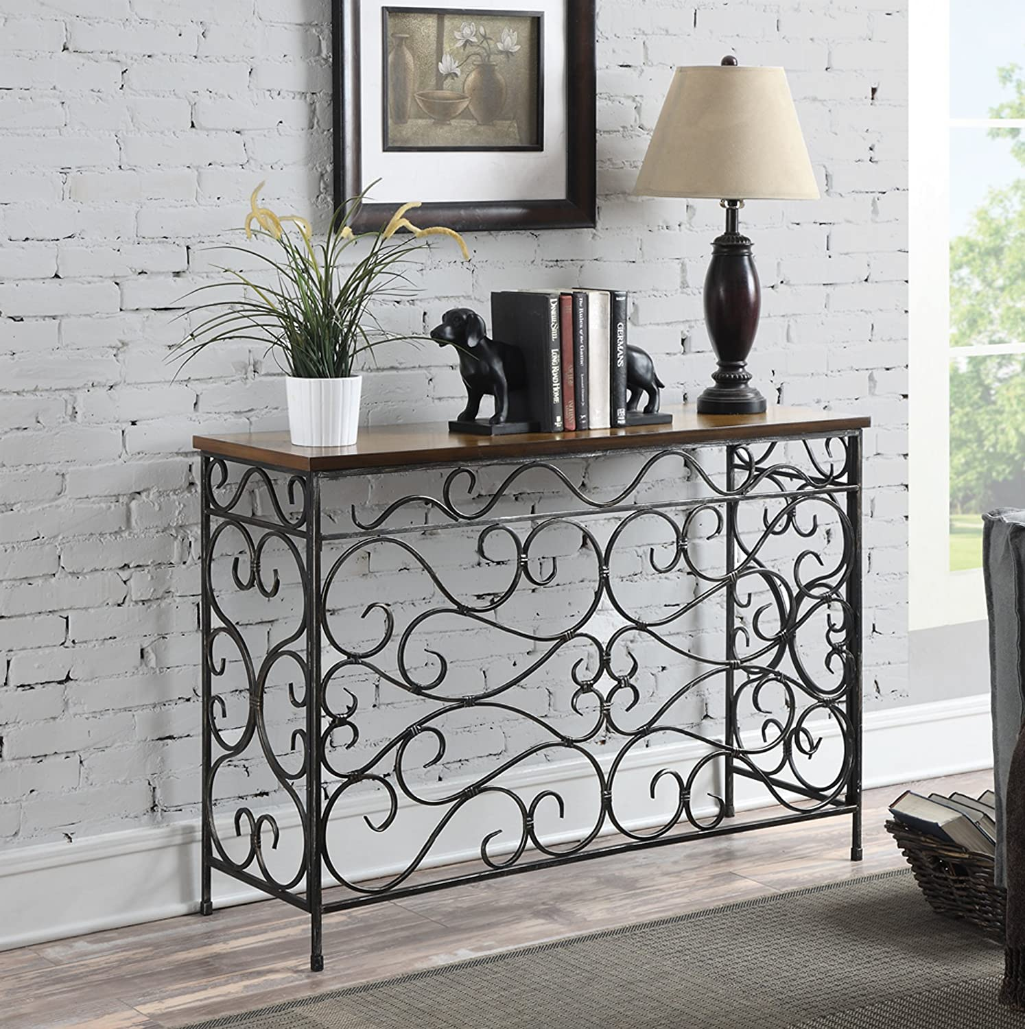 Amazon convenience concepts wyoming metal and wood console amazon convenience concepts wyoming metal and wood console black antiqued finish kitchen dining geotapseo Choice Image